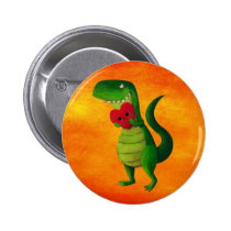 artsprojekt, dinosaur, rawr, t-rex, rawr means i love you, love, cute t-rex, valentines day, heart, tyrannosaurus rex, valentine, lovely dinosaur, illustration dinosaur, cute dino, cute dinosaur, Button with custom graphic design