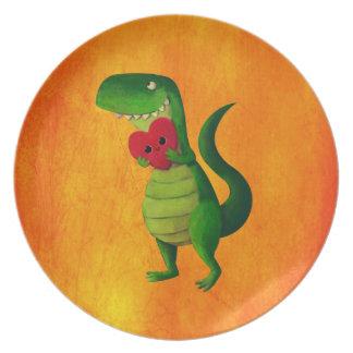 RAWR Dinosaur Love Plate