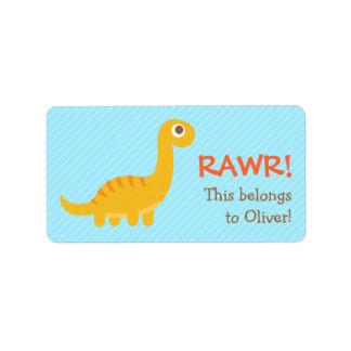 Rawr, dinosaurio amarillo lindo del Brachiosaurus Etiquetas De Dirección