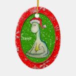 ¡RAWR! Dinosaurio del navidad (bilateral, anticuad Ornato