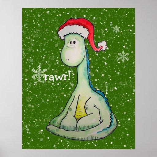 ¡rawr!  Dinosaurio del navidad Póster