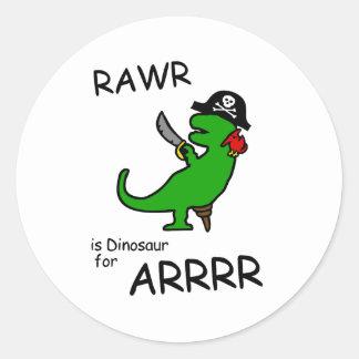 RAWR es dinosaurio para ARRR (el dinosaurio del Pegatina Redonda