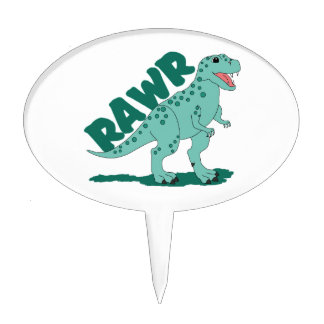 RAWR Green Spotted T-Rex Dinosaur Cake Pick