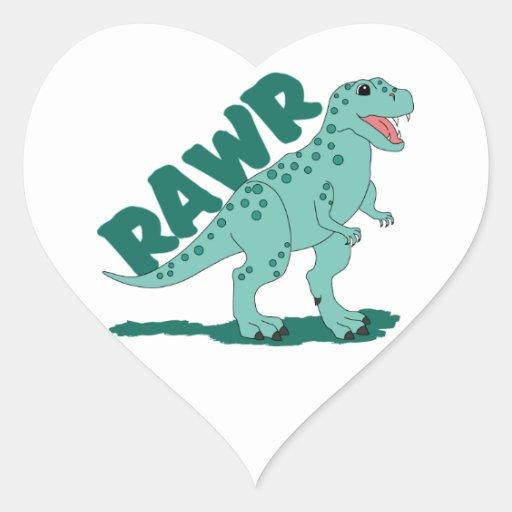 RAWR Green Spotted T-Rex Dinosaur Heart Sticker
