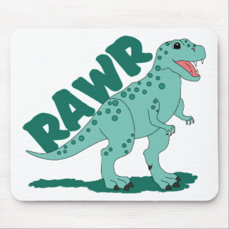 RAWR Green Spotted T-Rex Dinosaur Mouse Pad