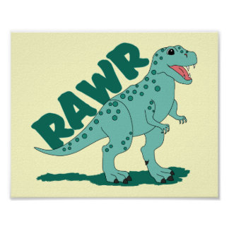 RAWR Green Spotted T-Rex Dinosaur Poster