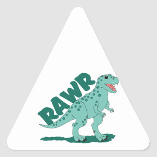 RAWR Green Spotted T-Rex Dinosaur Triangle Sticker