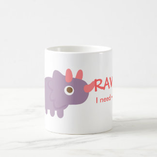 Rawr, I need water, funny triceratops dinosaur Classic White Coffee Mug