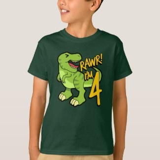 Rawr I'm 4 Cute 4th Birthday Dinosaur Gift T-Shirt