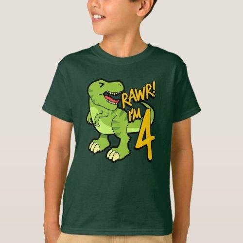 Rawr Im 4 Cute 4th Birthday Dinosaur Gift T_Shirt