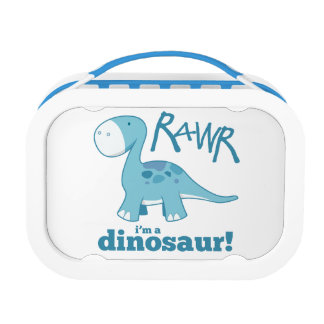RAWR I'm A Dinosaur Cute Blue Diplodocus Lunch Box