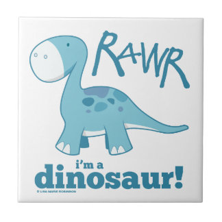RAWR I'm a Dinosaur Diplodocus Ceramic Tile