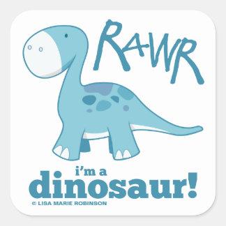 RAWR I'm a Dinosaur Diplodocus Large Stickers Square Sticker