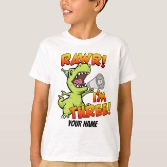 Rawr I'm Three Dinosaur T-Shirt