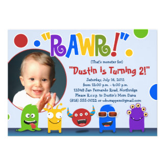Rawr Little Monster Birthday Party Invitations