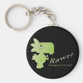 Rawr Means I Love You Dino Basic Round Button Keychain