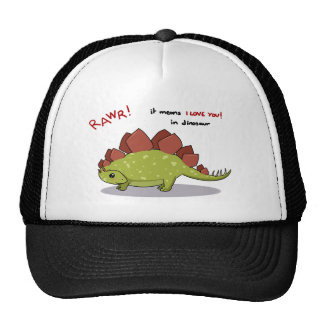 Rawr Means I love you in dinosaur Stegosaurus Mesh Hats