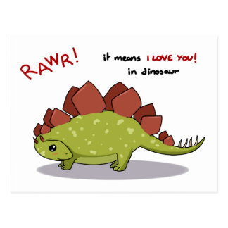 Rawr Means I love you in dinosaur Stegosaurus Postcard