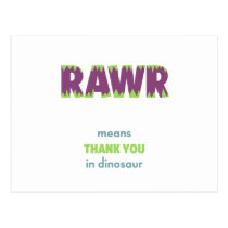 RAWR Means Thank You in Dinosaur Postcard