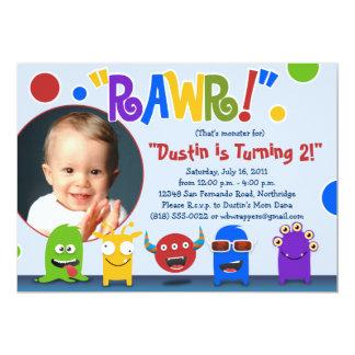 """¡Rawr!  Pequeñas invitaciones de la fiesta de Invitación 5"""" X 7"""""""