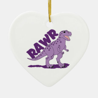 RAWR Purple Spotted T-Rex Dinosaur Ceramic Ornament