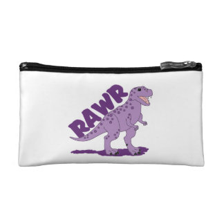 RAWR Purple Spotted T-Rex Dinosaur Cosmetic Bag