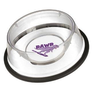 RAWR Purple Spotted T-Rex Dinosaur Pet Bowl