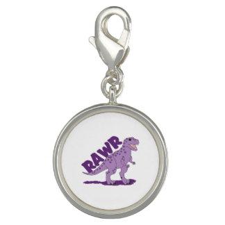 RAWR Purple Spotted T-Rex Dinosaur Photo Charm