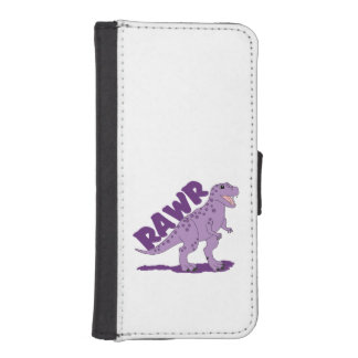 RAWR Purple Spotted T-Rex Dinosaur Wallet Phone Case For iPhone SE/5/5s