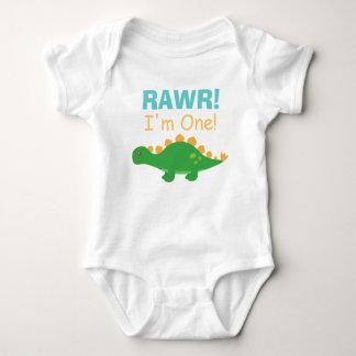 Rawr, soy uno, dinosaurio lindo para los bebés mameluco de bebé