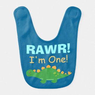 Rawr, soy uno, dinosaurio lindo para los niños babero de bebé