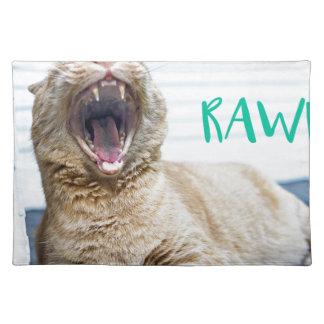RAWRing Kitty Cat - Yawning Cat - Roaring Cat Cloth Placemat
