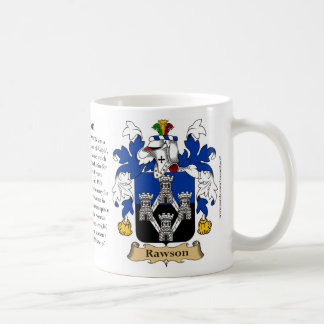 Rawson, the Origin, the Meaning and the Crest Coffee Mug