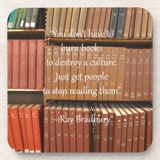 Ray Bradbury Quotation about Books Drink Coaster