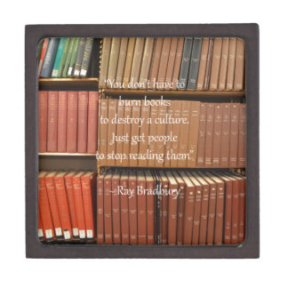 Ray Bradbury Quotation about Books Jewelry Box