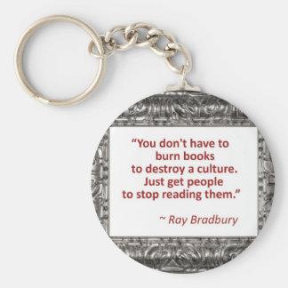 Ray Bradbury Quote About Burning Books Keychain