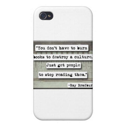 Ray Bradbury quote on books iPhone 4/4S Covers