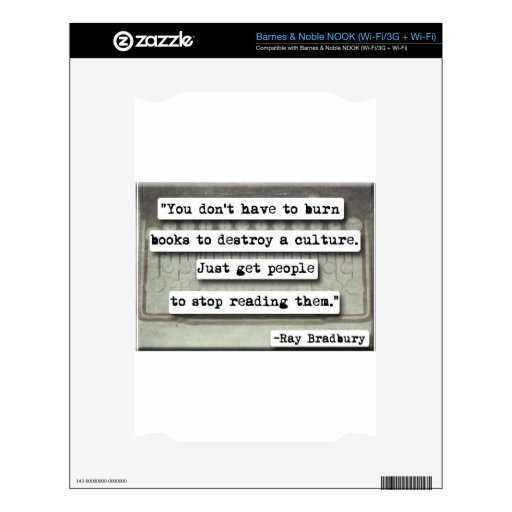Ray Bradbury quote on books Decal For The NOOK