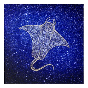 Beach Themed Ray Fish Ocean Sea Life Blue NavySilver Foxier Acrylic Wall Art