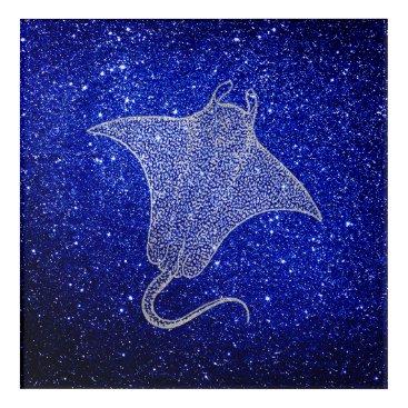 Beach Themed Ray Fish Ocean Sea Life Blue NavySilver Gray Beach Acrylic Print
