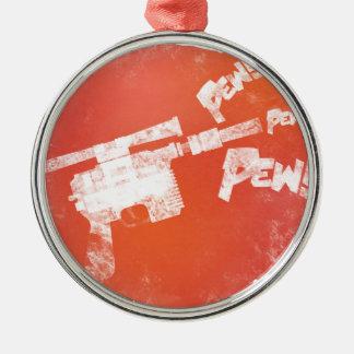 Ray Gun Round Metal Christmas Ornament
