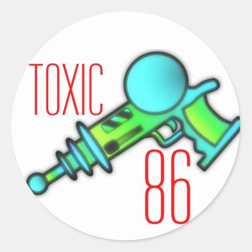 ray gun shirt, Toxic, 86 Round Stickers
