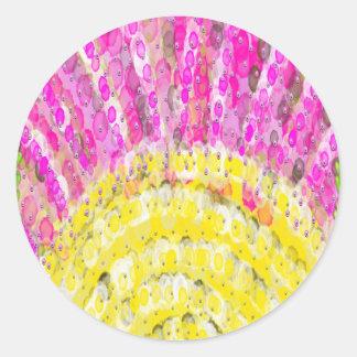Ray Of Sunshine in Yellow and Fuchsia Classic Round Sticker