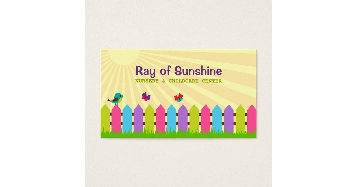 Ray of Sunshine Nursery / Childcare Business Card | Zazzle.com