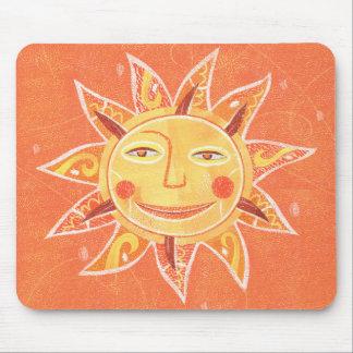 Ray Play Smiling Orange Sun Art Mouse Pad