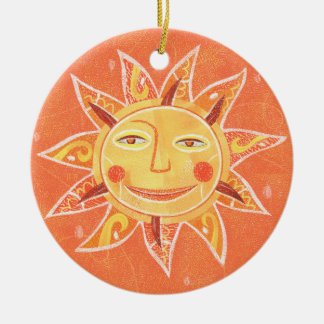 Ray Play Smiling Orange Sun Art Double-Sided Ceramic Round Christmas Ornament