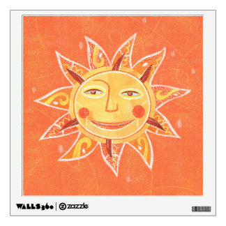 Ray Play Smiling Orange Sun Art Wall Sticker