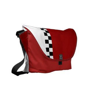 raya a cuadros: rojo bolsas de mensajería
