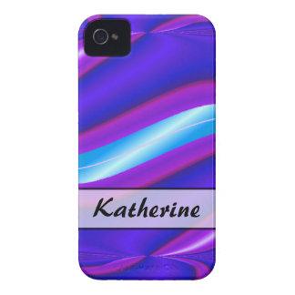 Raya abstracta azul brillante personalizada Case-Mate iPhone 4 cárcasa