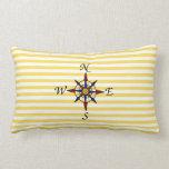 Raya amarilla náutica con el compás almohadas